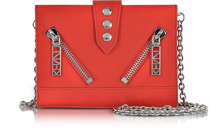 Red Gommato Leather Kalifornia Wallet w/Chain Strap - Kenzo