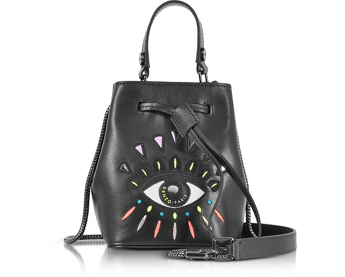 63d4a480cbb Kenzo Black Leather Eye Mini bucket Bag at FORZIERI UK
