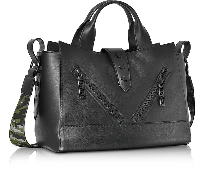38398ed5 Kalifornia Black Leather Medium Tote Bag w/Signature Canvas Shoulder Strap  - Kenzo. €340,00 €680,00 Actual transaction amount