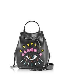 Black Leather Mini Eye Bucket Bag - Kenzo