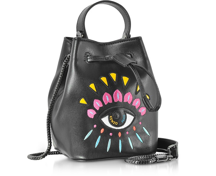 5d4c7216bd Kenzo Black Leather Mini Eye Bucket Bag at FORZIERI Canada