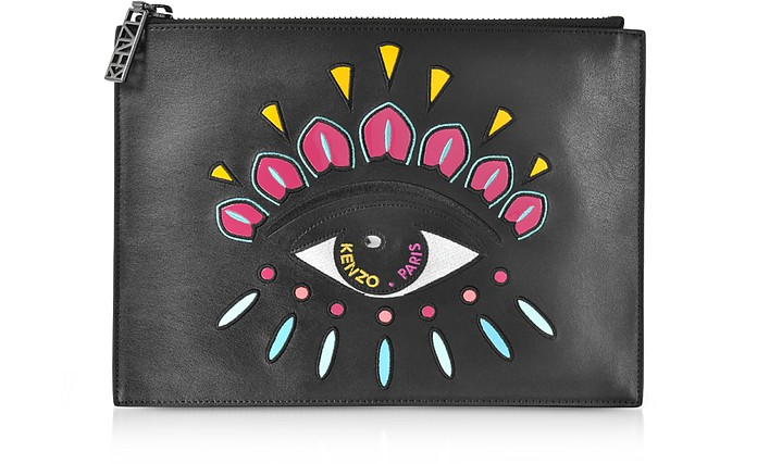 6cac2e5c898 Kenzo Black Leather A4 Eye Clutch at FORZIERI
