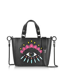 Black Leather Small Eye Tote w/Shoulder Strap - Kenzo