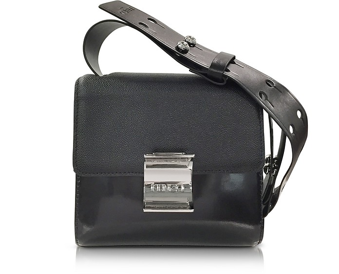 e6d28be050a9 Kenzo Black Embossed Leather Small Shoulder Bag at FORZIERI UK