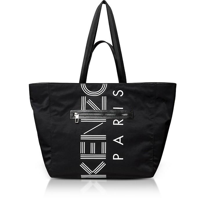 Black Nylon Logo Tote Bag - Kenzo
