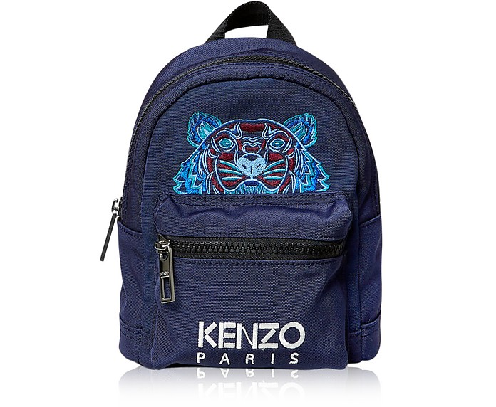 Small Tiger Canvas Backpack in Blue