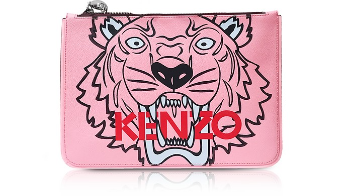 665effab815 Kenzo Pink A4 Coated Canvas Tiger Clutch at FORZIERI Canada