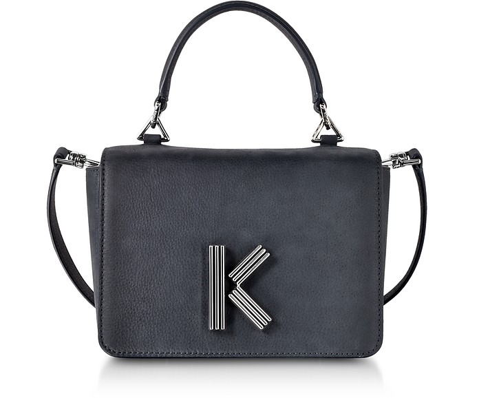 Anthracite Medium Nabuk and Leather Crossbody K-Bag - Kenzo