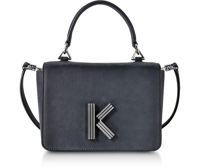 K-Bag - Сумка Среднего Размера Через Плечо из Набука и Кожи Угольного Оттенка - Kenzo