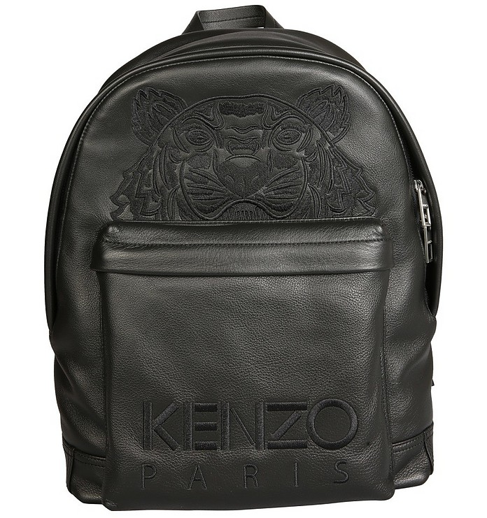 Black Leather Backpack With Logo - Kenzo