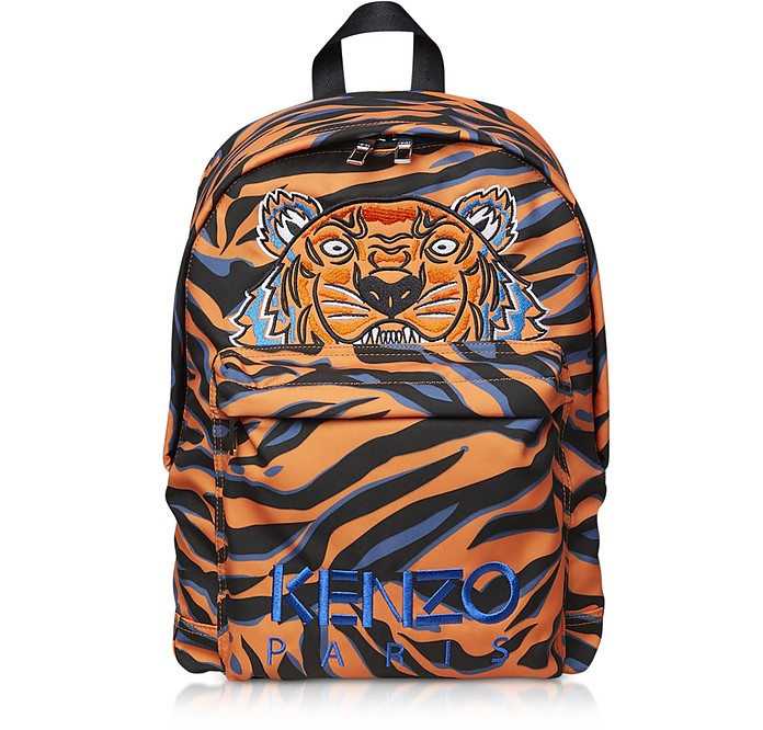 Orange Printed Nylon Backpack - Kenzo