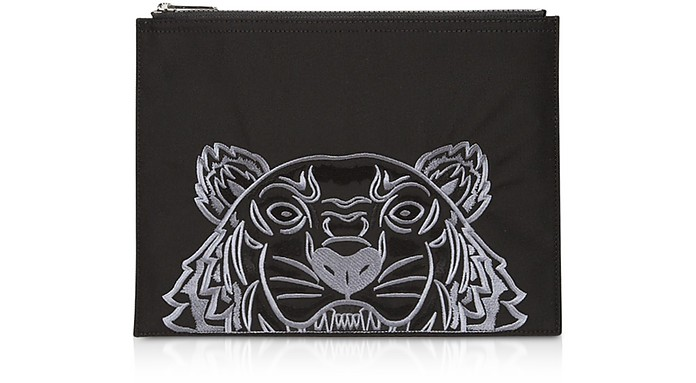 Black Fabric Tiger A4 Clutch - Kenzo