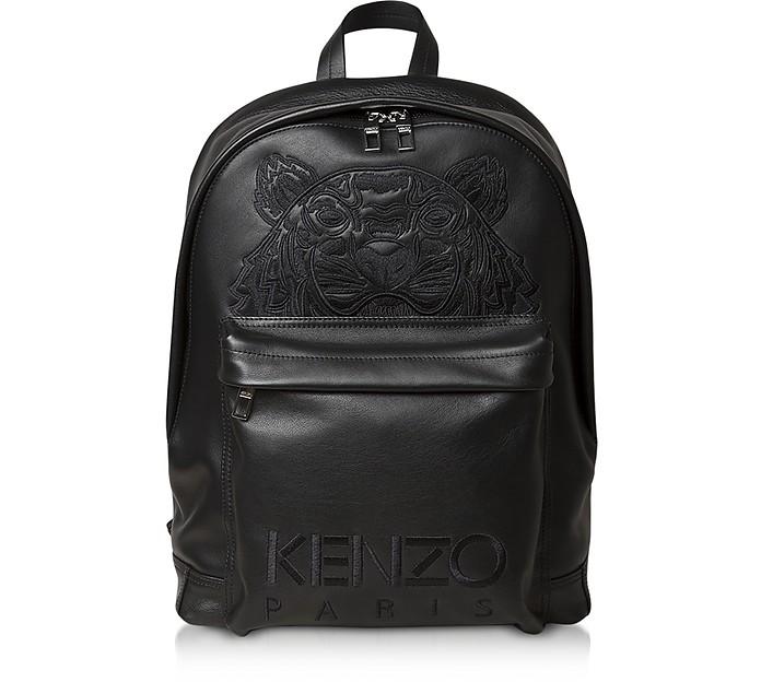 Black Leather Tiger Embossed Logo Backpack - Kenzo