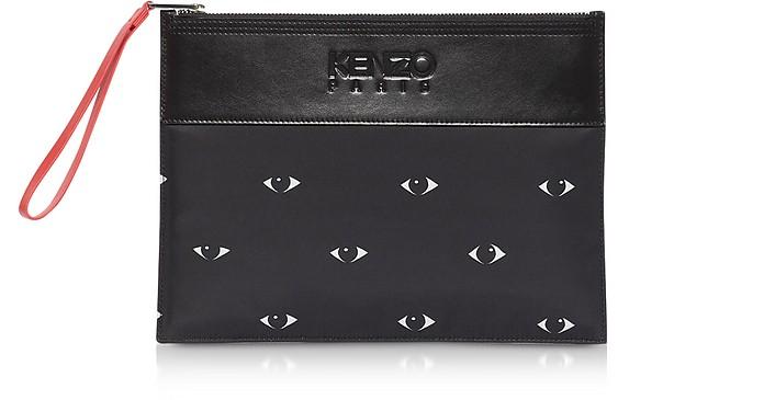 Eyes Print Black Nylon & Leather Large Pouch - Kenzo