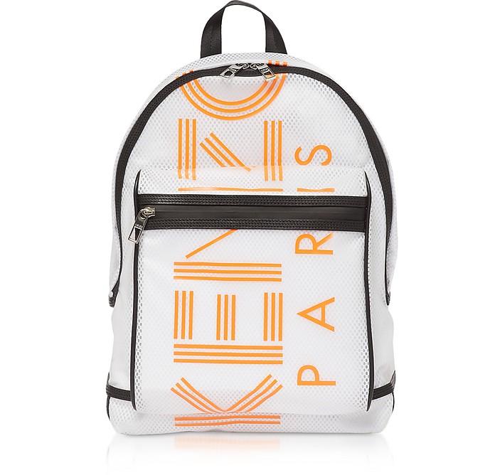 White PVC & Mesh Sport Logo Backpack - Kenzo