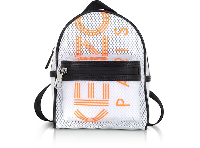 White PVC & Mesh Sport Logo Mini Backpack - Kenzo