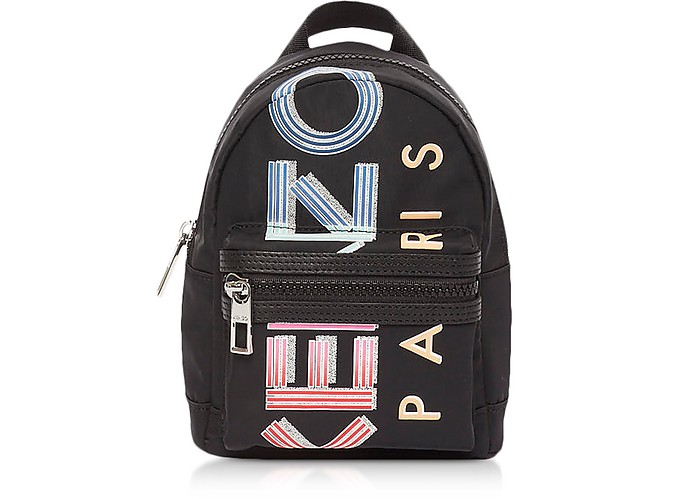 Black Nylon Sport Logo Animation Mini Backpack - Kenzo