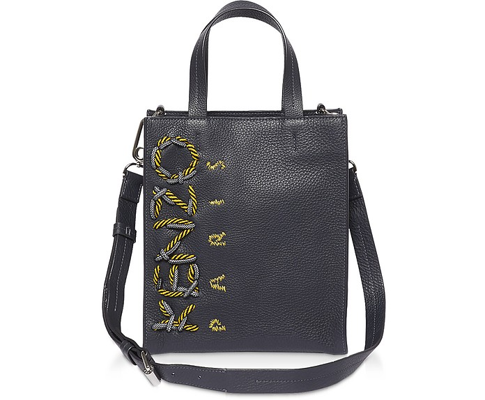 Forzieri Blue Leather Kenzo Bag Tote Cord Navy At DIE29WHY