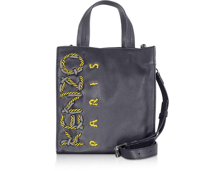 KENZO Cord Navy Blue Leather Tote Bag - Kenzo