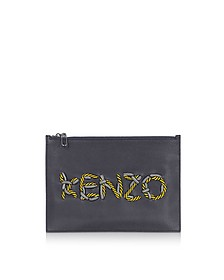 KENZO Cord Leather Clutch