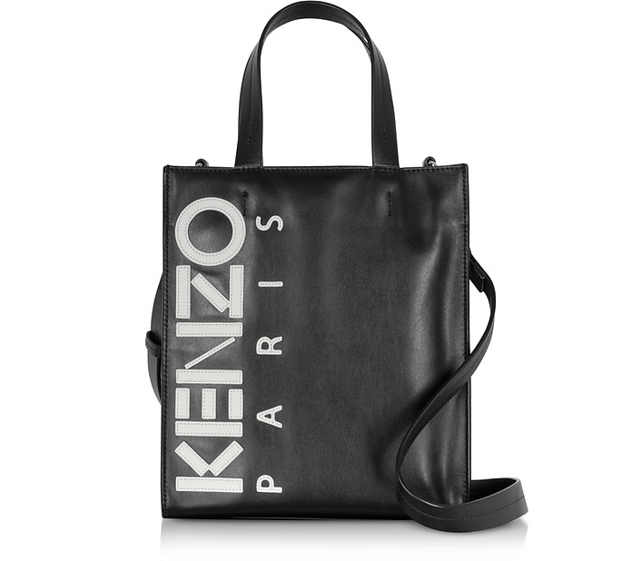 KENZO Kontrast Tote Bag en Cuir Noir - Kenzo