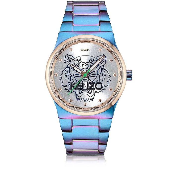 Blue and Pink Iridescent Tiger Watch - Kenzo