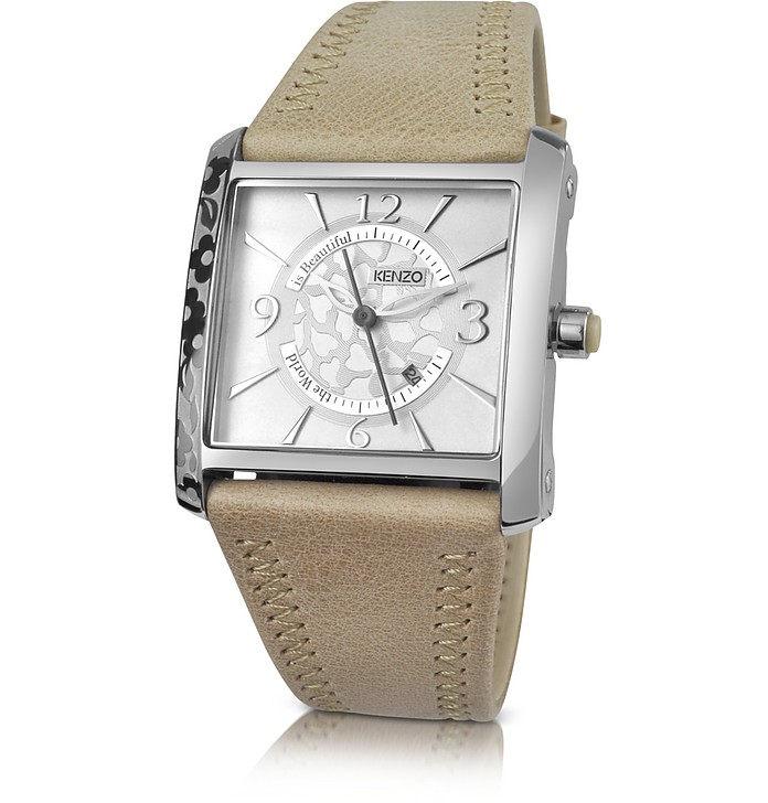 50858220 Kenzo OKI- Stainless Steel Square Watch with Beige Leather Strap at ...