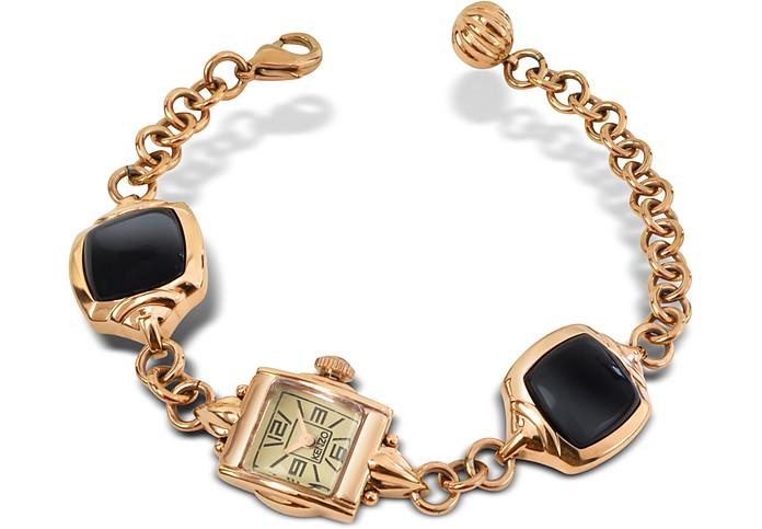 Kichou - Rose Gold Plated Bracelet Watch with Onyx  - Kenzo