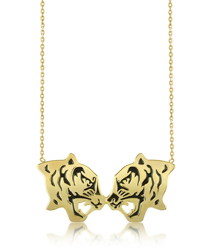 Gold Plated and Black Lacquer Fighting Tiger Necklace - Kenzo
