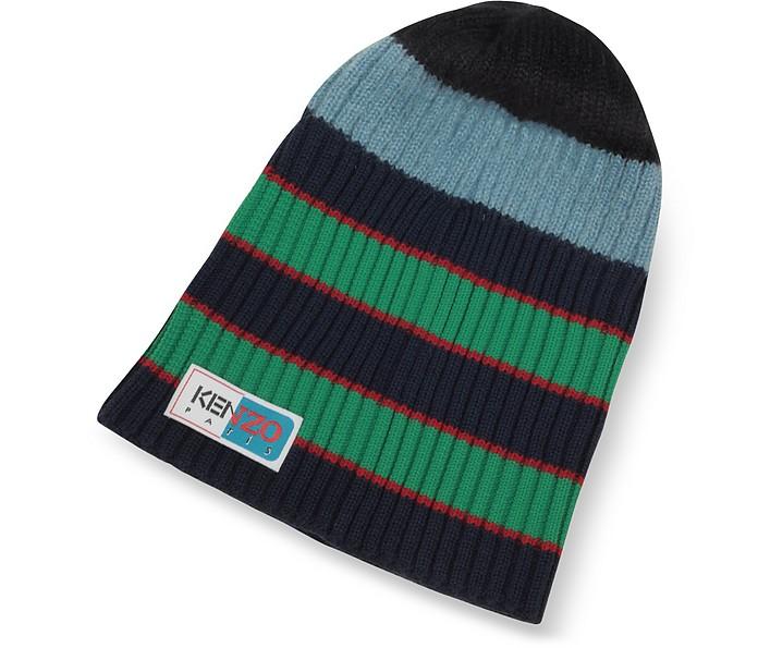 Blue Stripy Wool Beanie - Kenzo