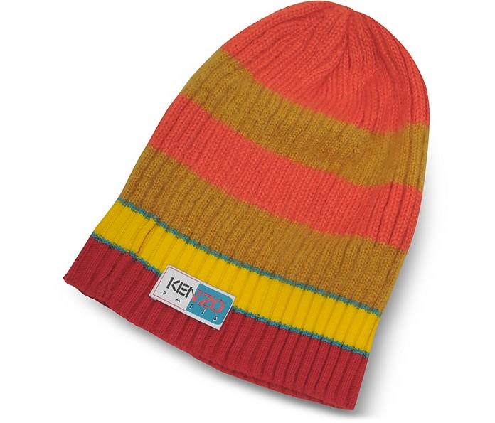 Orange&Yellow Stripy Wool Beanie - Kenzo