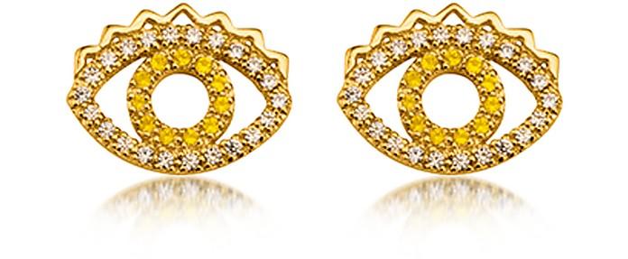 Goldtone Mini Eye Earrings w/Crystals - Kenzo