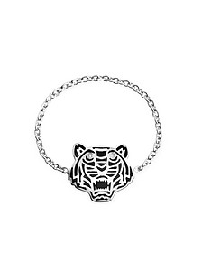 Black Lacquer Sterling Silver Mini Tiger Ring - Kenzo