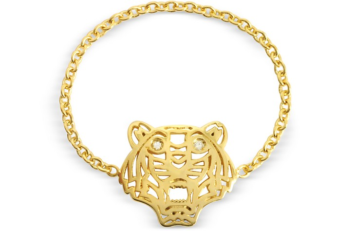 GOLD PLATED MINI TIGER RING