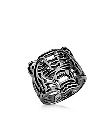 Ruthenium Plated Sterling Silver Cut Out Small Tiger Ring