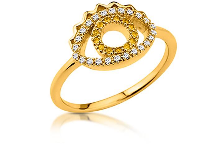 Goldtone Mini Eye Ring w/Crystals - Kenzo