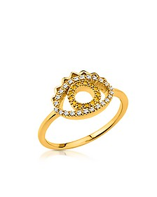 Goldtone Mini Eye Ring w/Crystals - Kenzo