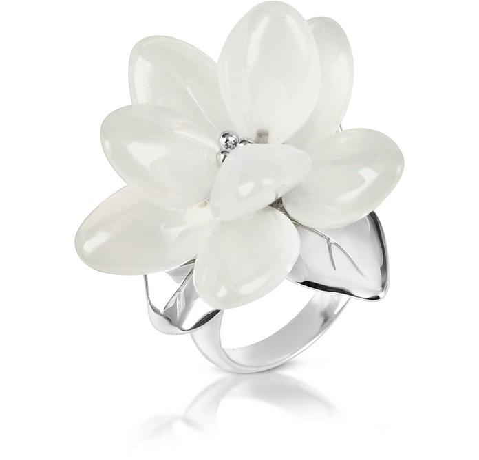 Magnolia - Milky Quartz Flower Sterling Silver Ring - Kenzo