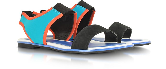 Tao Color Block Nabuck and Neoprene Flat Sandal - Kenzo