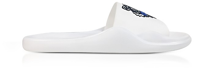 White Women's Pool Sandals w/Tiger Logo - Kenzo