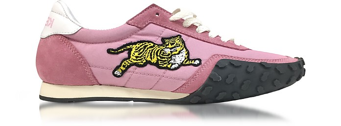 Flamingo Pink Nylon and Suede Kenzo Move Women's Sneakers - Kenzo