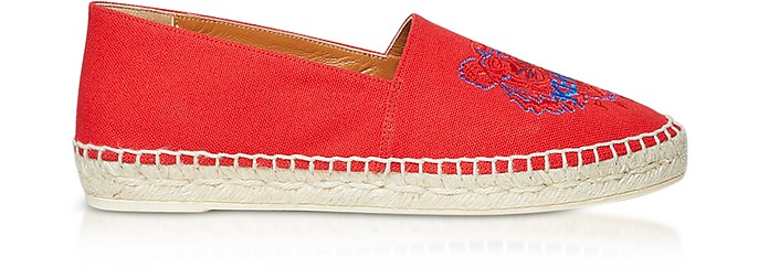 Red Canvas and Jute Espadrilles - Kenzo