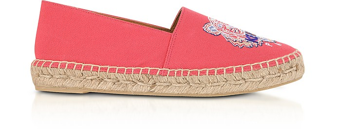 Coral Canvas Tiger Head Embroidery Specail Fit Espadrillas - Kenzo