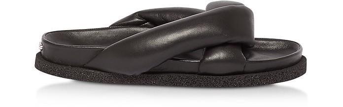 Black Nappa Leather Komfy Flat Mules - Kenzo