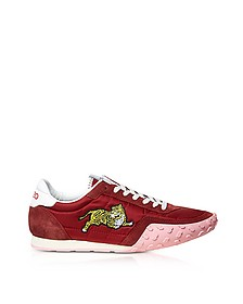 Medium Red Nylon and Suede Kenzo Move Women's Sneakers - Kenzo