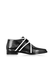 Black and White Leather Slip-on Derby