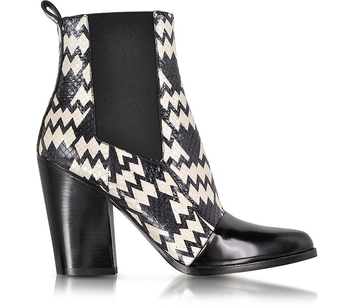 Black and White Snake Print Ankle Boot - Kenzo