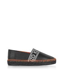 Black Grainy Leather Espadrilles w/Neon Orange Stitching - Kenzo