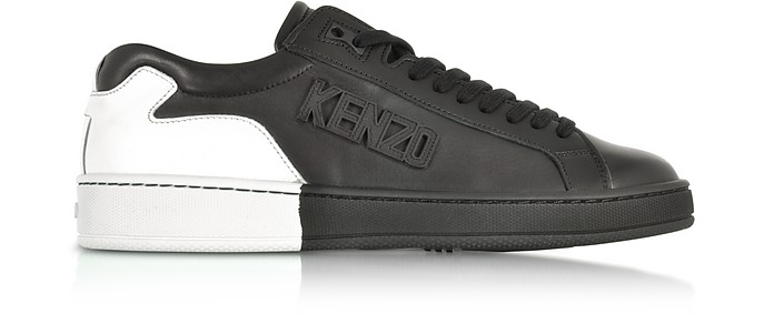 Tennix Black and White Leather Low Top Sneakers