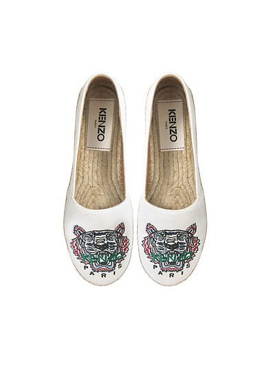 White Classic Canvas Women's Tiger Espadrilles - Kenzo